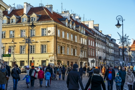stare miasto: WARSAW - DECEMBER 28: Freta Street and the Tenement built early 18th century for Jan Feliks Dulfus, burnt down during World War II, and rebuilt in 1950, in Warsaw in Poland on December 28, 2013 Editorial