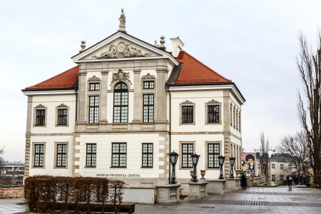 chopin heritage: WARSAW - JANUARY 04: Ostrogski Palace of the 17th century, burnt down by Germans during World War II, rebuilt in 1953, nowadays the Fryderyk Chopin Museum, in Warsaw in Poland on January 04, 2014
