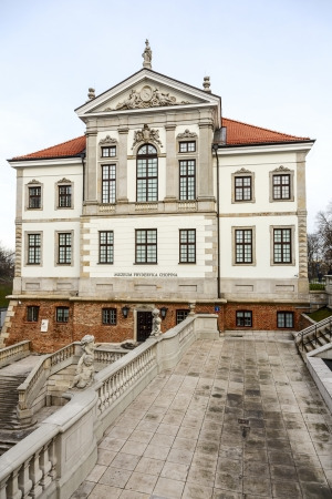 fryderyk chopin: WARSAW - JANUARY 04: Ostrogski Palace of the 17th century, burnt down by Germans during World War II, rebuilt in 1953, nowadays the Fryderyk Chopin Museum, in Warsaw in Poland on January 04, 2014