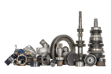 Set of various spare parts of engine and gear box photo