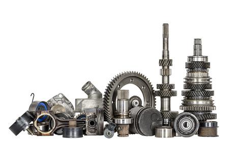 Set van verschillende onderdelen van de motor en versnellingsbak