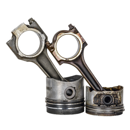 compression  ring: Worn out pistons and connecting rods, dismantled from the internal combustion engine Stock Photo
