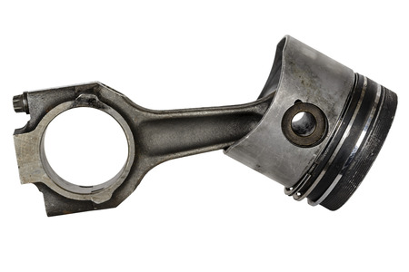 compression  ring: Worn piston and connecting rod, dismantled from the internal combustion engine