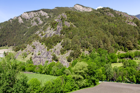 tourism in andorra: Green forests and mountains, the beauty of the tourist areas at the Pyrenees, Andorra Stock Photo