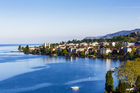montreux: Aerial view onto surrounding buildings in Montreux Stock Photo