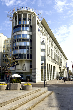 five star: WARSAW, POLAND - APRIL 12, 2014  Sheraton Warsaw Hotel, five star hotel offers 350 elegant and comfortable guest rooms and suites, built in 1996