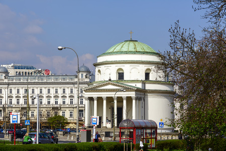 WARSAW, POLAND - APRIL 12, 2014  Roman Catholic church of the saint Alexander built between 1818-1826 in the classical style, designed by Peter Aigner, located at Trzech Krzyzy Square