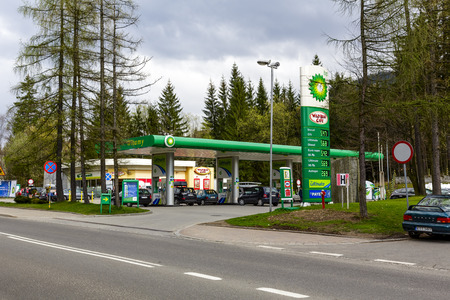 ZAKOPANE, POLAND - APRIL 21, 2014  BP Gas Station belongs to a global group of oil and gas companies,  the BP network exist in Poland for 20 years, nowadays the network run of 450 service stations