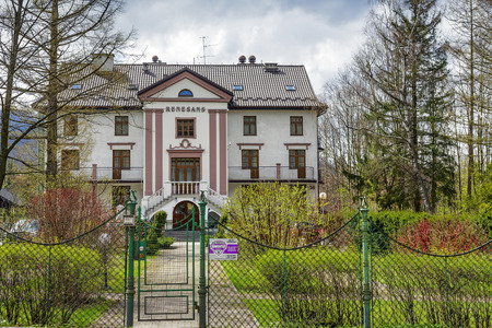 ZAKOPANE, POLAND - APRIL 20, 2014  Made of brick vacation house Renaissance, built in 1929, nowadays comfortable guest house with 21 guest rooms