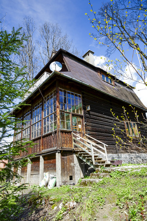 ZAKOPANE, POLAND - APRIL 20, 2014  Wooden Villa built around year 1908, former workshop of the Polish painter Teodor Axentowicz, in the years 1987-2005 Henryk s Burzec art studio