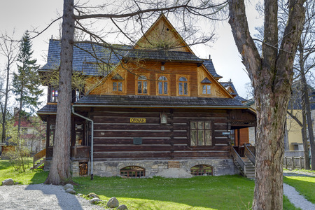 ZAKOPANE, POLAND - APRIL 20, 2014  Made of wood Villa Ornak, built by Stanislaw Sokolowski in the year 1902, entered in the register of monuments of architecture