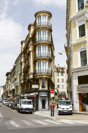 NICE, FRANCE - MAY 21, 2014  Hotel Acanthe offers 50 guest rooms, located in the very heart of Nice next to Massena square