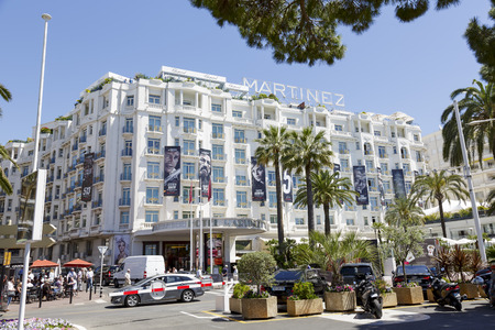 martinez: CANNES, FRANCE-MAY 14  Grand Hyatt Cannes Hotel Martinez, located in a prime point on the Boulevard de La Croisette, overlooking the Bay of Cannes and the Mediterranean Sea, offers 409 guestrooms