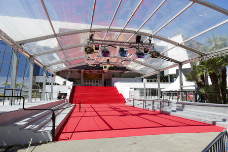 CANNES, FRANCE-MAY 14  Stair covered with the red carpet of Festival Palace shown during the 67th Annual Cannes Film Festival, opening day