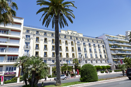 d���azur: NICE, FRANCE - MAY 13, 2014  Le Royal, three stars Hotel offers 140 air-conditioned guestrooms, located at the heart of the Cote d Azur along Promenade des Anglais