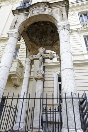 NICE, FRANCE - MAY 16, 2014  Marble cross, erected in 1568 to commemorate the Congress of Nice, which was attended by the Emperor Charles V, King Francis I and Pope Paul III in Nice in 1538