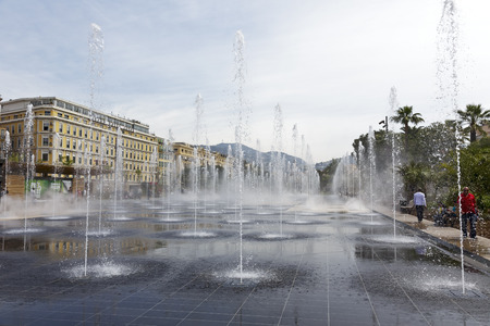 NICE, FRANCE - MAY 11, 2014  Fountain at Promenade du Paillon, a part of 12-hectare urban park, 1 2 km long, in the heart of the City, official opened after three years of work in October 2013