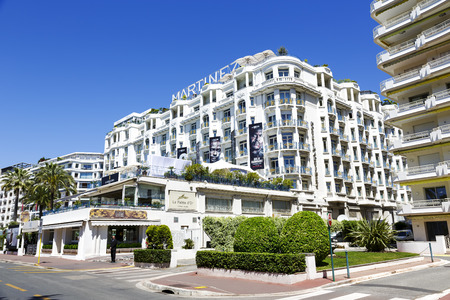 CANNES, FRANCE - MAY 14  Grand Hyatt Cannes Hotel Martinez, located in a prime point on the Boulevard de La Croisette, overlooking the Bay of Cannes and the Mediterranean Sea, offers 409 guestrooms