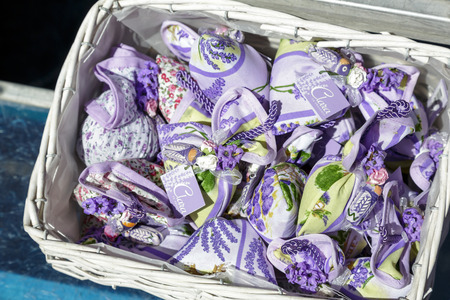 sachets: NICE, FRANCE - MAY 15, 2014  Lavender sachets, offered under the well known brand name Clara en Provence, popular gift from Provence because of its sophisticated fragrance