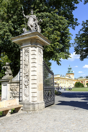 WARSAW, POLAND - AUGUST 20, 2014: Made of stone entrance gate built in the last quarter of the 17th century by Augustine Locci, the main entry to the suburban residence of King Jan III Sobieski