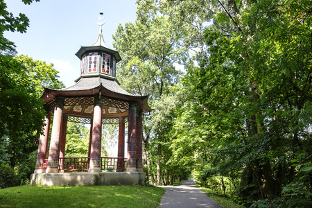 WARSAW, POLAND - AUGUST 20, 2014: Chinese Gazebo built in the years 1805-1812 for the Count Stanislaw Kostka Potocki in the Wilanow park belonging to the Royal Palace property of John III Sobieski