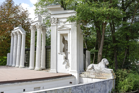 WARSAW, POLAND - AUGUST 25, 2014: Artificial ruins at the stage, the Theater on the Island, built in 1786, designed by Domenico Merlini, rebuilt in 1790 to the design of Jan Christian Kamsetzer Editorial