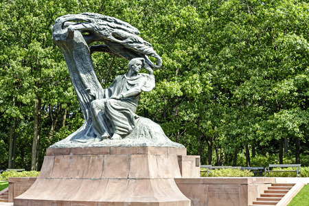 WARSAW, POLAND - AUGUST 25, 2014: Monument to Chopin in Warsaw?s Lazienki public park depict the composer sitting in masovian stylized willow tree, statue made of bronze
