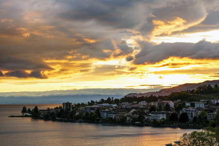 montreux: Aerial view of the buildings seen from Montreux at sunset Stock Photo
