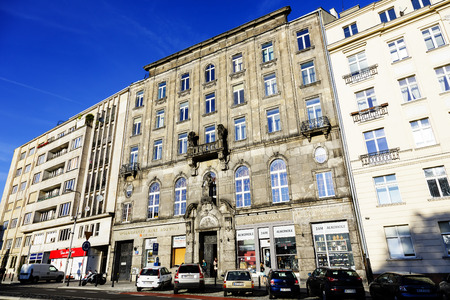 former years: WARSAW, POLAND - SEPTEMBER 24, 2014: Townhouse built in the years 1911-1912, the former seat of the Central Agricultural Society, damaged during World War II, rebuilt in the years 1947-1948 Editorial
