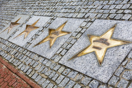stardom: WLADYSLAWOWO, POLAND - SEPTEMBER 12, 2014: The Stars made of bronze with the names of sportsmen on the Avenue of the Stars of Sport, created in 2000 on the promenade leading from the city to the sea Editorial