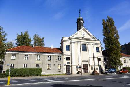 belongs: WARSAW, POLAND - SEPTEMBER 24, 2014: Church of St. John of God, belongs to the Fathers of the Hospitaller Order of Brothers Hospitallers, built in 1728,  builder of the church, architect Jakub Fontana