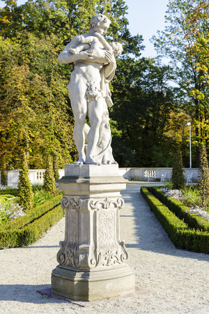 WARSAW, POLAND - OCTOBER 04, 2014: Sculpture in the the gardens in the Wilanow park created in the 2nd half of the 17th century together with the Royal Palace built for King Jan III Sobieski