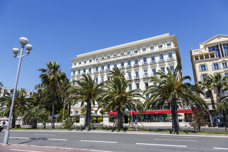west end: NICE, FRANCE - MAY 18, 2014: The Hotel West End, built in 1842 facing the Mediterranean sea, famous and luxury 4-star hotel offers 120 rooms