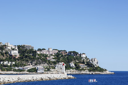 azure coast: NICE, FRANCE - MAY 24, 2014: Mont Boron, suburban of Nice located on the mountain that rises up on the eastern edge of Nice, one of the oldest settlements on the Azure Coast