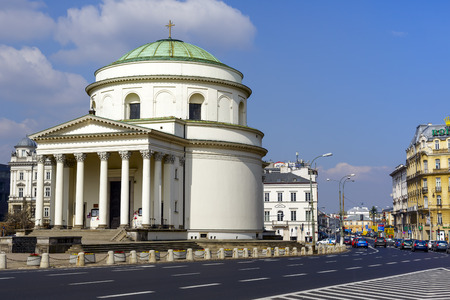 WARSAW, POLAND - APRIL 12, 2014: Roman Catholic church of the saint Alexander built between 1818-1826 in the classical style, designed by Peter Aigner, located at Trzech Krzyzy Square