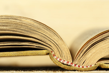 shown: The open book is shown up close Stock Photo