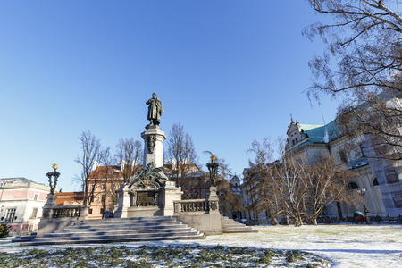 WARSAW, POLAND - JANUARY 06, 2015: Memorial to Adam Mickiewicz by Cyprian Godebski unveiled on December 24, 1898, removed in 1942 by the Germans, once again unveiled on January 28, 1950
