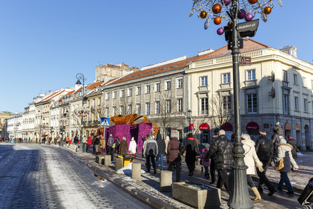 wilanow: WARSAW, POLAND - JANUARY 06, 2015: The historical Royal Route (Trakt Krolewski) street in year 1994, together with the historic center and Wilanow declared a historical monument, located in downtown