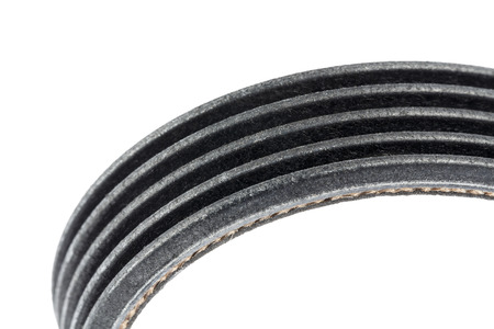 Closeup on the drive belt isolated on white background