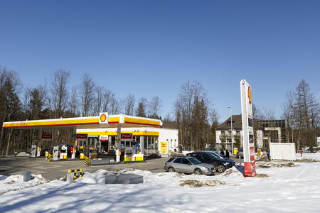 petrochemicals: ZAKOPANE, POLAND - MARCH 09, 2015: Shall Gas Station launched in 2012, belongs to a global group of energy and petrochemicals companies whose origins date back to 1890 Editorial