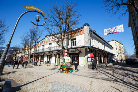 bazar: ZAKOPANE, POLAND - MARCH 09, 2015: Trading House and Art Gallery named Bazar Polski erected  in the downtown in the years from 1910 to 1911 by the efforts of Earl Wladyslaw Zamoyski