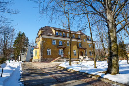former years: ZAKOPANE POLAND  MARCH 09 2015: Brick building built in the years 1912 to 1913 design by E. Wesolowski a former guest house Zychoniowka