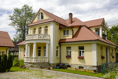 ZAKOPANE, POLAND - JUNE 14, 2015: The brick construction villa called Boryna, built approx. 1920. In this house Wladyslaw St. Reymont lived a Nobel laureate of 1924 Editorial