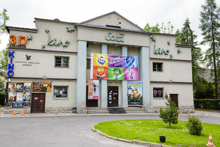 existence: ZAKOPANE, POLAND - JUNE 11, 2015: Sokol cinema located in the building of Gymnastic Society with the same name, in 2013 it celebrated its 100th anniversary of its existence
