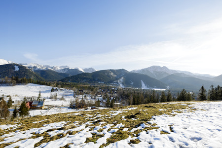populated: Tatra Mountains seen from the sparsely populated areas of the city Zakopane