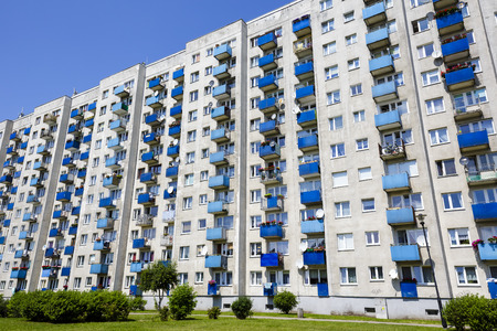 prefab: KOLOBRZEG, POLAND - JULY 14, 2015: Residential building built in the large board technology, it was a popular way of building houses in Poland in the 50s until the mid-80s of the 20th century Editorial