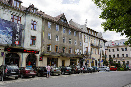 highlanders: ZAKOPANE, POLAND - JUNE 14, 2015: Brick townhouse, belongs to The Society of Podhale, formerly the Peoples House of  Highlanders Association, built between 1928-1932