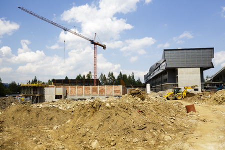 sports hall: ZAKOPANE, POLAND - JUNE 12, 2015: Construction of a new Sports Hall in the Central Sports Center, built hall area is approx. 5450 square meters