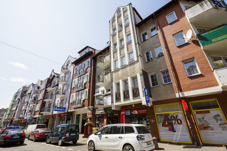 KOLOBRZEG, POLAND - JULY 14, 2015: Houses in the Old Town district are practically new part of the town rebuilt after the devastation of World War II Editorial