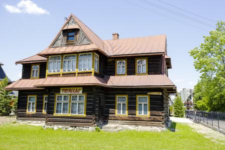 twentieth: ZAKOPANE, POLAND - JUNE 13, 2015: Wooden villa named Prymulka, built probably the first quarter of the twentieth century Editorial